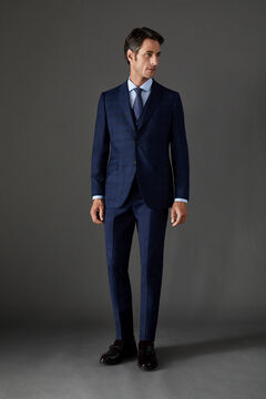 Cortefiel Slim fit checked suit blazer Royal blue
