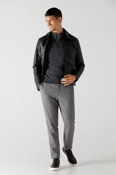 Cortefiel Cotton/cashmere trucker neck jumper Grey