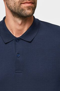 Cortefiel Long-sleeved organic cotton polo shirt Royal blue