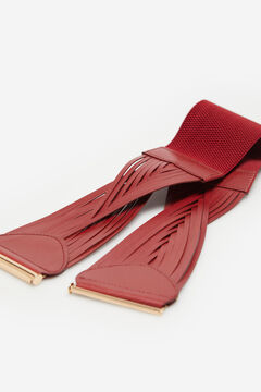 Cortefiel Woven leather belt Red garnet