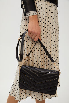 Cortefiel Quilted crossbody bag Black