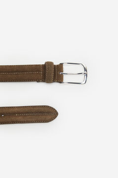 Cortefiel Plain leather belt Mole