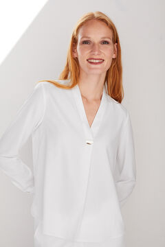 Cortefiel Blouse with gold button White
