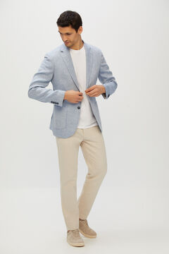 Cortefiel Washed linen blazer Blue