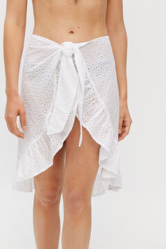 Cortefiel Broderie anglaise wrap skirt White