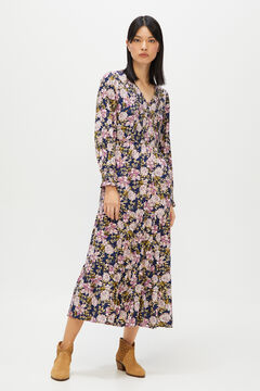 Cortefiel Printed midi dress Blue