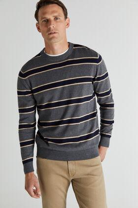 Cortefiel Striped crew neck jumper    Gray