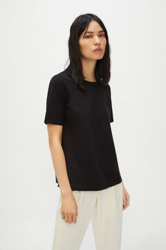 Cortefiel Essential crew neck t-shirt Black