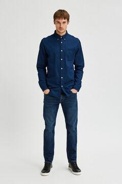 Cortefiel Slim denim shirt Royal blue