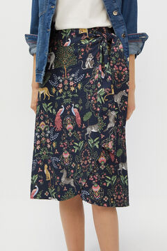 Cortefiel Printed midi skirt Natural