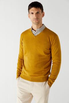 Cortefiel Cotton/cashmere V-neck jumper  Beige