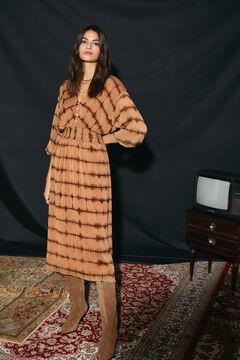 Cortefiel Printed dress Kaki