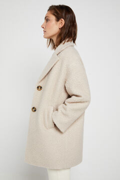 Cortefiel Eco-friendly bouclé coat White