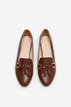Cortefiel Embossed slipper with horsebit and tassels Dark brown