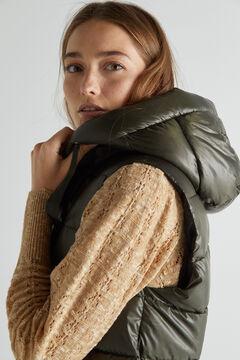 Cortefiel Long hooded vest Dark gray