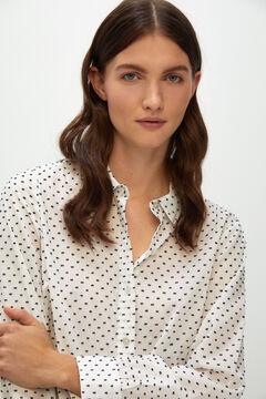 Cortefiel Long-sleeved plumetis shirt Ecru