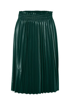 Cortefiel Pleated faux leather skirt Pistachio green
