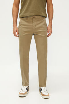 Cortefiel Textured slim fit trousers with elasticated waist Pink