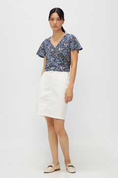 Cortefiel Basic t-shirt with buttons Blue