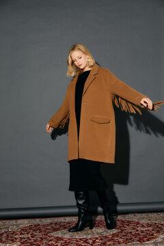 Cortefiel Camel coat with fringes Vanilla