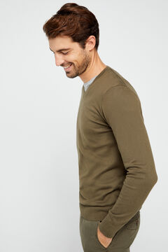 Cortefiel Organic cotton V-neck jumper Kaki