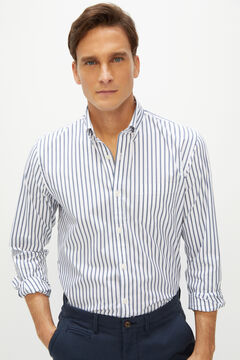 Cortefiel Coolmax eco-made stretch slim striped shirt Navy