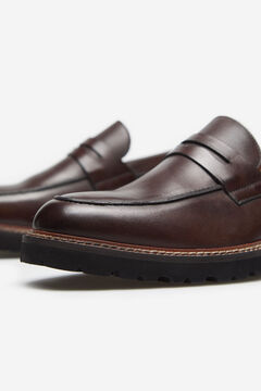 Cortefiel Rubber-soled penny loafer Tobaco