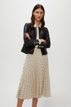 Cortefiel Pleated polka-dot midi skirt Ecru