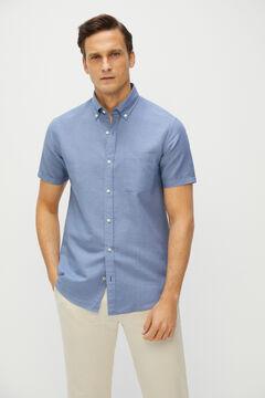 Cortefiel Camisa lisa lino algodón manga corta Azul