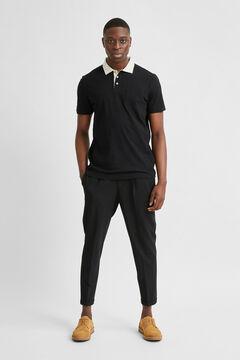 Cortefiel Short-sleeved polo shirt Black