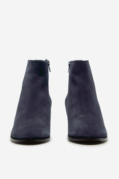Cortefiel Split leather ankle boots medium heel height Navy