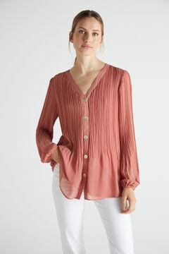 Cortefiel Pleated comfort shirt Pink