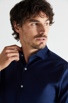 Cortefiel Textured slim fit stain resistant dress shirt Navy