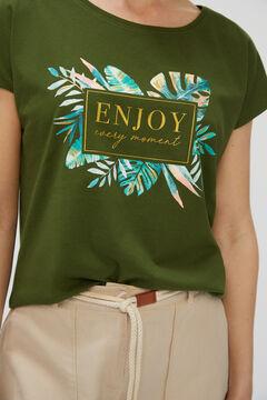 Cortefiel Printed T-shirt Green