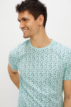 Cortefiel Printed short-sleeved t-shirt White