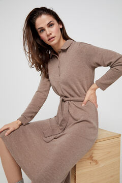 Cortefiel Jersey-knit polo shirt dress Brown