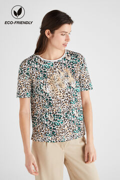 Cortefiel Printed organic cotton t-shirt Kaki