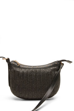 Cortefiel Raffia and studs crossbody bag Black