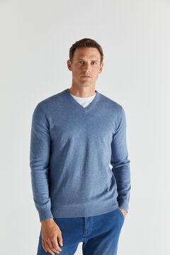 Cortefiel Cotton/cashmere V-neck jumper  Royal blue