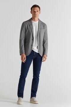 Cortefiel Lightweight jersey-knit blazer Gray