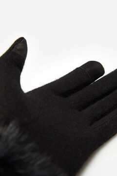 Cortefiel Houndstooth gloves with natural fur Black