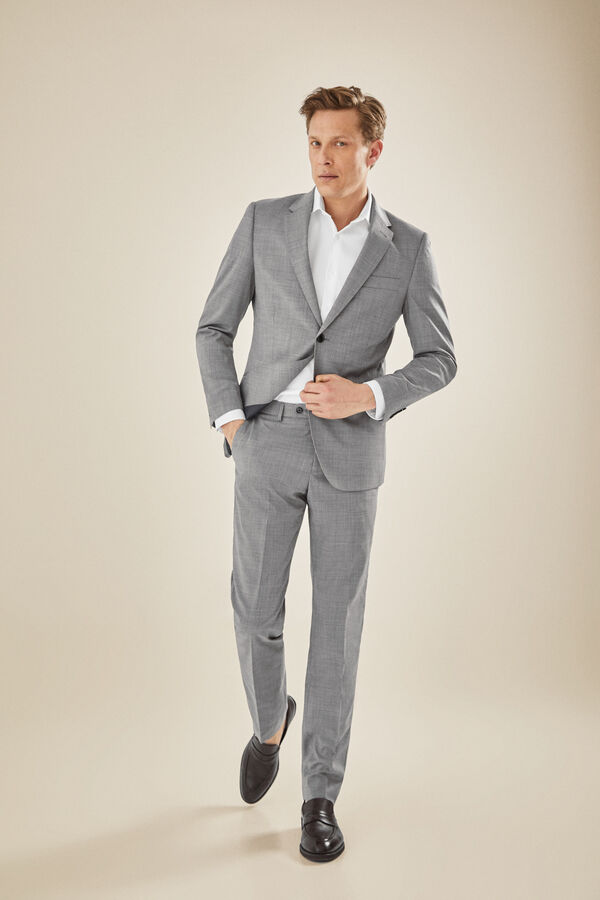 ceb1db401 Cortefiel Pantalón traje gris slim fit Gray