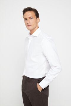 Cortefiel White herringbone classic fit dress shirt White