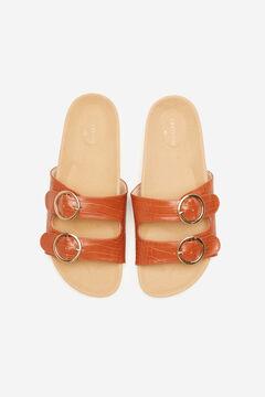 Cortefiel Flat snakeskin footbed sandal Vanilla
