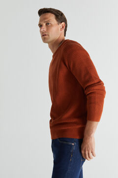 Cortefiel Ribbed crew neck jumper Red