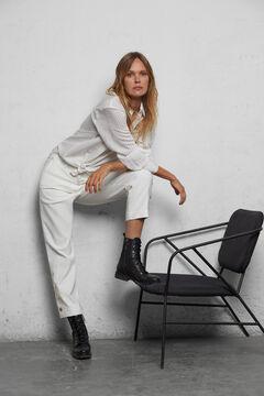 Cortefiel Woven stripe shirt White