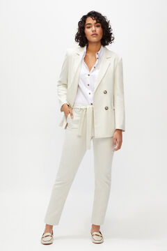 Cortefiel Plain belted trousers White