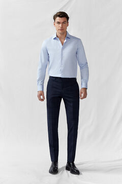 Cortefiel Slim fit window pane check trousers Navy