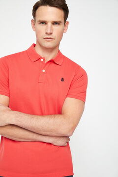 Cortefiel Short-sleeved logo polo shirt Red