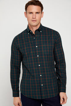 Cortefiel Checked twill shirt Dark green